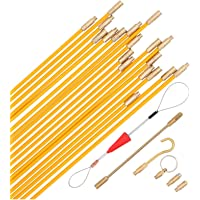 25 Feet Fiberglass Fish Tape Cable Rods, Coaxial Electrical Wire Running Pull/Push Kit with Hook and Hole Kit in…