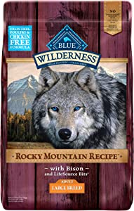 Blue Buffalo Wilderness Rocky Mountain Recipe High Protein, Natural Adult Large Breed Dry Dog Food, Bison 22-lb