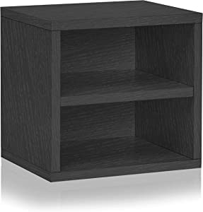Way Basics Eco Stackable Connect Storage Cube with Shelf Cubby Organizer, Black Wood Grain (Tool-Free Assembly and Uniquely Crafted from Sustainable Non Toxic zBoard Paperboard)