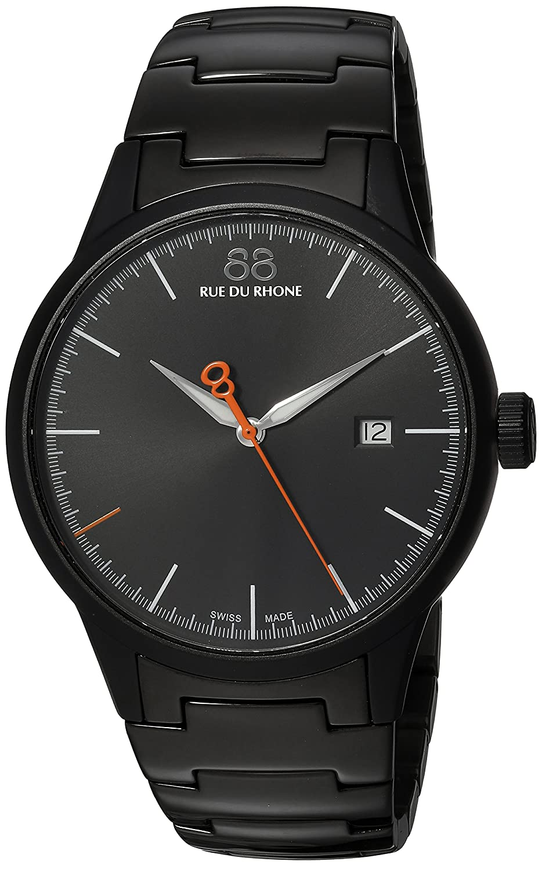 Amazon.com: 88 Rue du Rhone Mens Rive Swiss Quartz Stainless Steel Dress Watch, Color:Black (Model: 87WA154104: 88 Rue Du Rhone: Watches