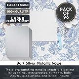 Dark Silver Metallic Paper - 96-Pack Shimmer