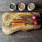 The Rustic Dish - Tagliere rustico in legno d'olivo, 30 x 15 x 2 cm