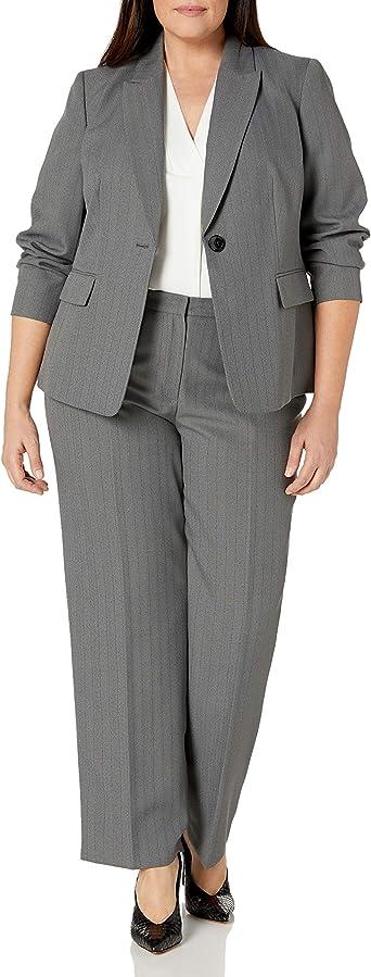 Le Suit Womens Plus Size 1 Button Mini Herringbone Pant Suit