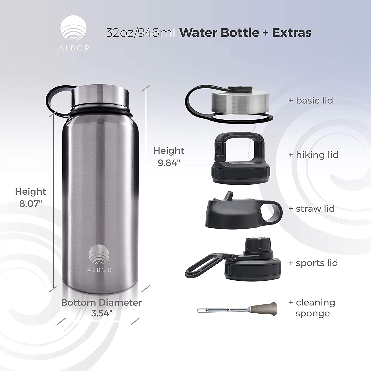 ALBOR Insulated Water Bottle with Straw 32 Oz Water Bottle Stainless Steel Water Bottle with Straw