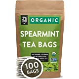 Organic Spearmint Leaf Tea Bags | 100 Tea Bags | Eco-Conscious Tea Bags in Kraft Bag | Raw from USA | by FGO