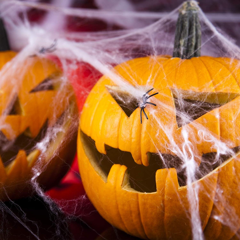 Tomaibaby Halloween Extensible Toiles Daraign/ées Toile Daraign/ée Lumineuse D/écoration Int/érieure Et Ext/érieure de Toiles Daraign/ées Effrayantes pour La D/écoration Dhalloween 300G