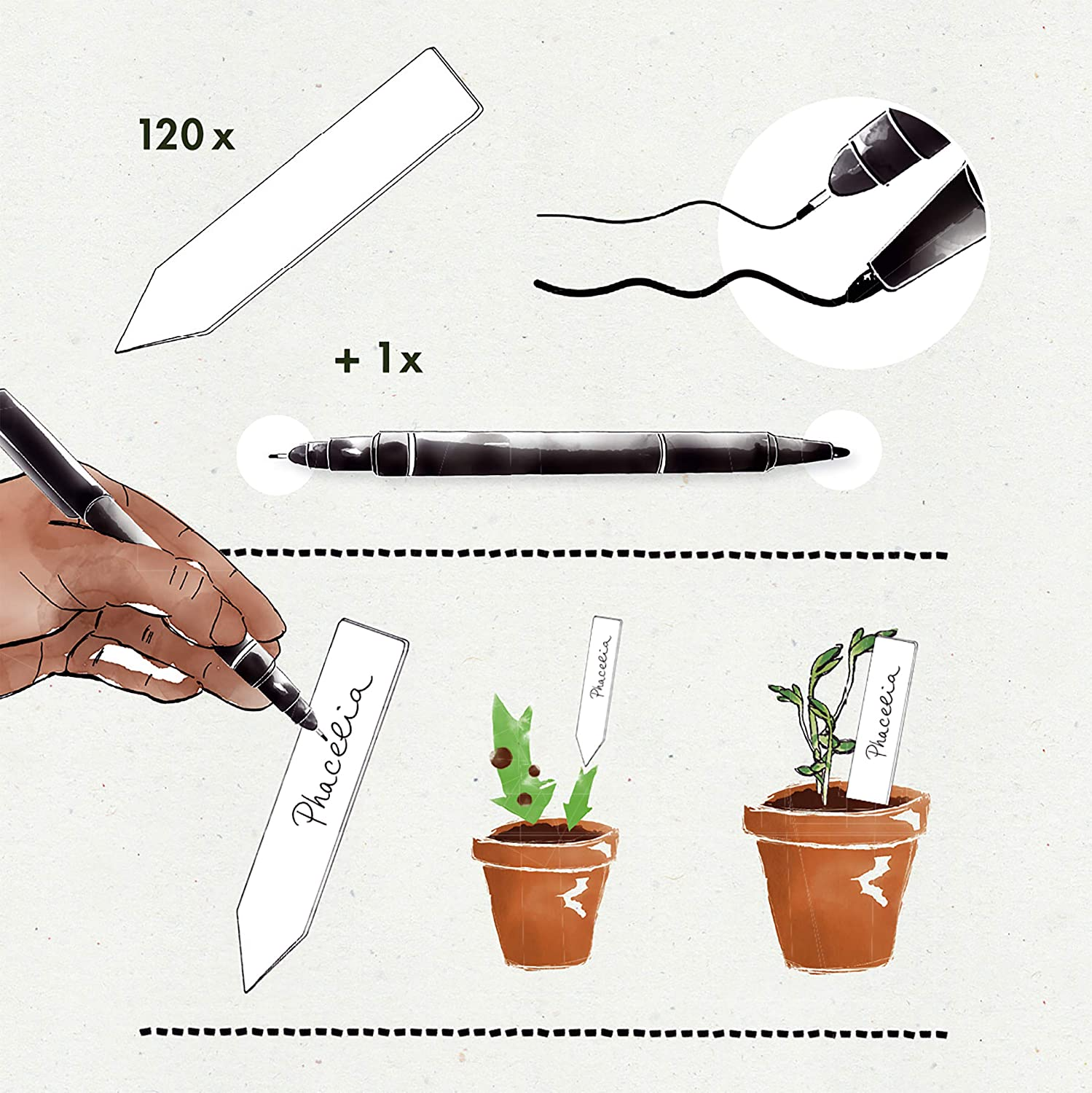 Plant Tags and Labels Plastic Tags: Premium Plastic Plant Labels Set with 120 Plant Name Sticks and Waterproof Marker Pen Plant Label Set by OwnGrown White Plant Labels Plastic Seedling Labels