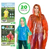 20 Rain Ponchos Family Pack - Adults and Children Poncho - Disposable Emergency Ponchos (0.2) one time use