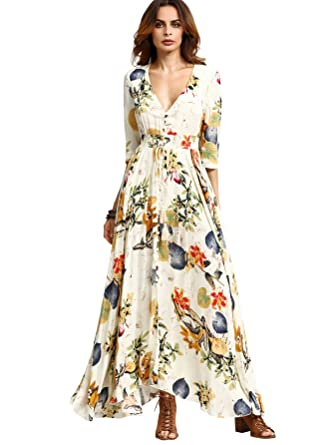 Milumia Women's Button Up Split Floral Print Flowy Party Maxi ...