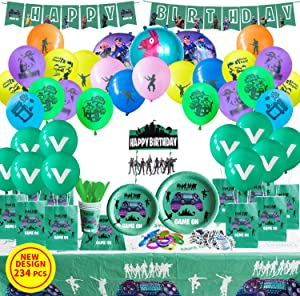 ArZo VIDEO GAME PARTY DECORATIONS, BIRTHDAY PARTY SUPPLIES FOR GAME FANS, GAME BRACELET, GAME PARTY FAVORS, CAKE TOPPER- 234 PIECES