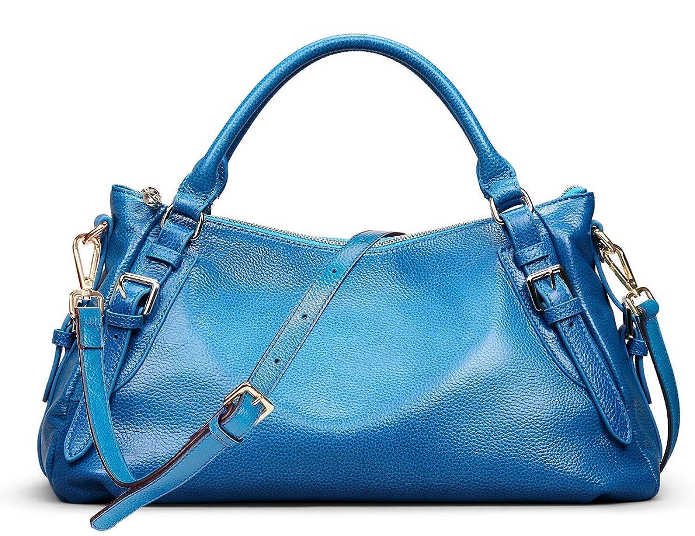 AINIMOER Womens Genuine Leather Top-handle Tote Shoulder Bag Messenger Purse Ladies Cross Body Handbags
