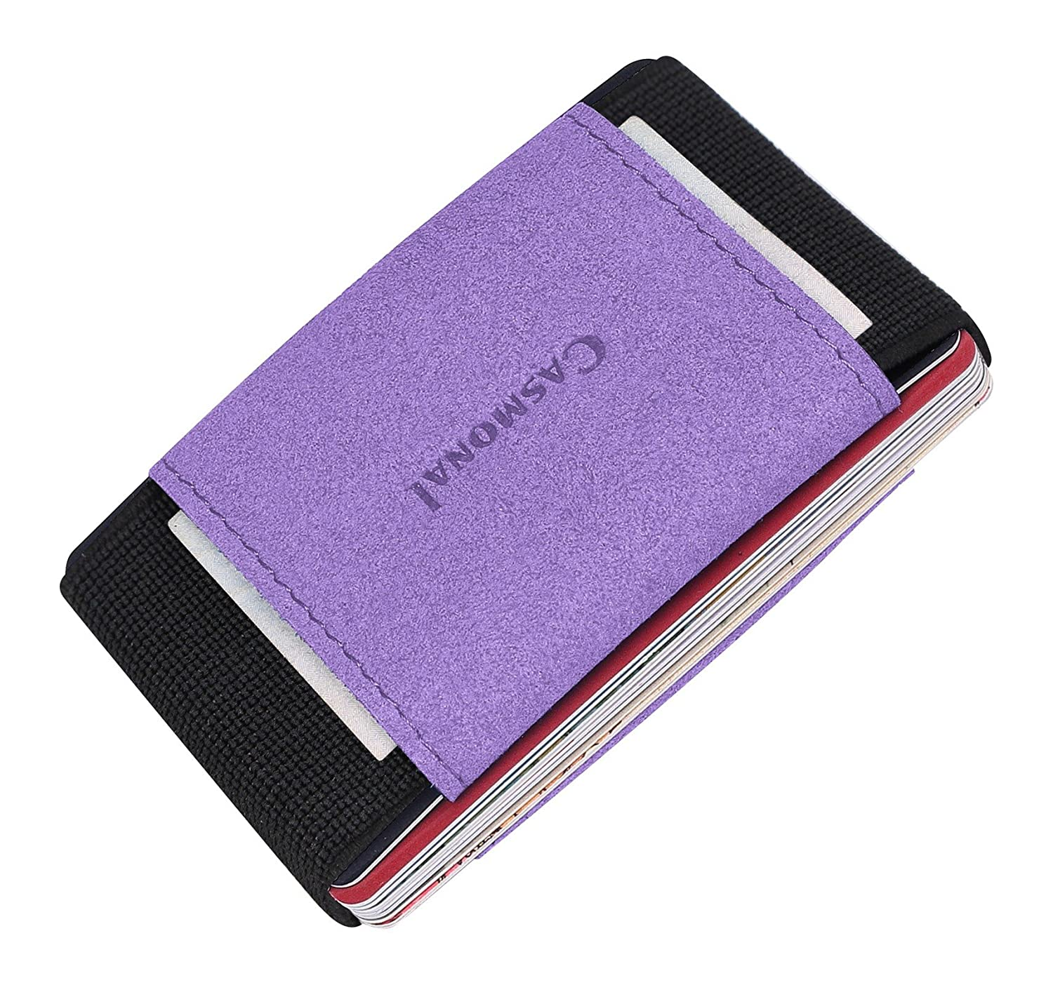 Casmonal Minimalist Slim Wallet With Elastic Front Pocket Card Holders And Cash cs00106