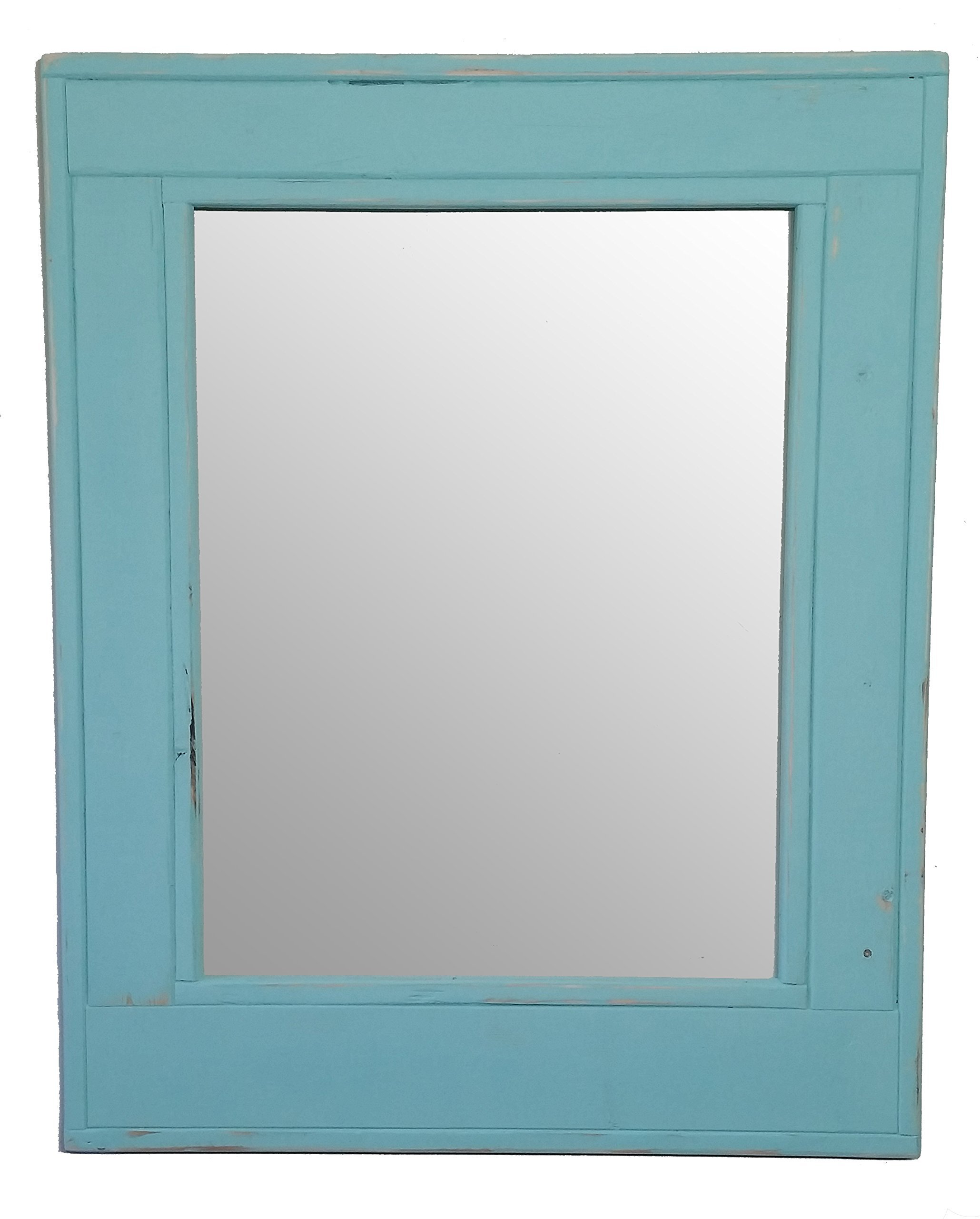Herringbone 24 x 30 Vertical Framed Mirror Painted Sea Blue with a Distressed Finish - Reclaimed Wood Mirror - Large Wall Mirror - Rustic Modern Home - Home Decor - Mirror - by Renewed Decor