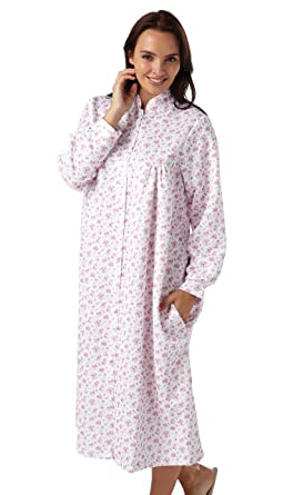 8542362570d Marlon Ladies Floral Mock Quilt Dressing Gown. Pink