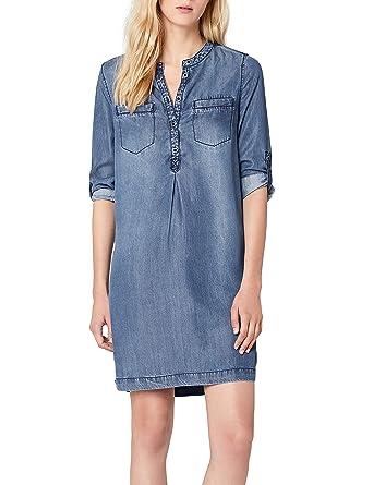 s.Oliver Damen Kleid 14.803.82.7591, Blau (Blue Denim Non Stretch 58y5), 34   Amazon.de  Bekleidung 95613637c3