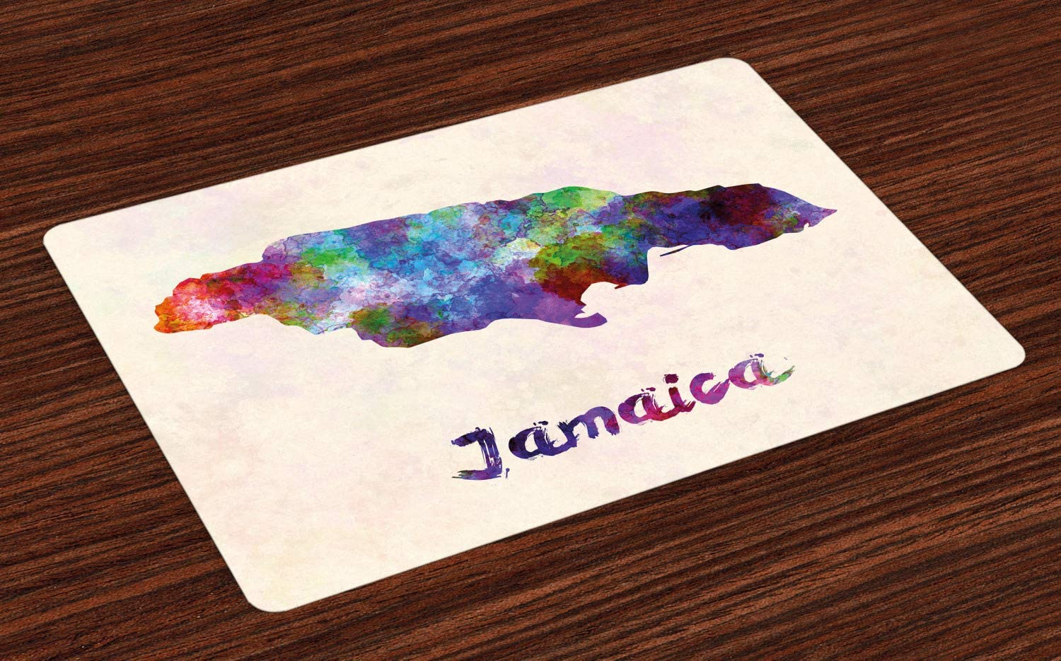 Amazon Com Ambesonne Jamaican Place Mats Set Of 4 Abstract Watercolor Map Of Jamaica Psychedelic Inspirations Country Brush Effect Washable Fabric Placemats For Dining Room Kitchen Table Decor Multicolor Home Kitchen