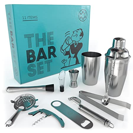Home Bar Tools Set 11 Piece cocktail set with strainer, jigger, 2 shakers, bar spoon, pourer, muddler, fruit peeler, bottle opener, cork screwer and ice tongs Stainless-Steel