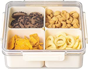 Beige Square Plastic Divided Serving Tray with Lids, 4 Individual Dishes Food Storage Containers, Serving Platter for Snack, Fruit, Veggie, Candies, etc.