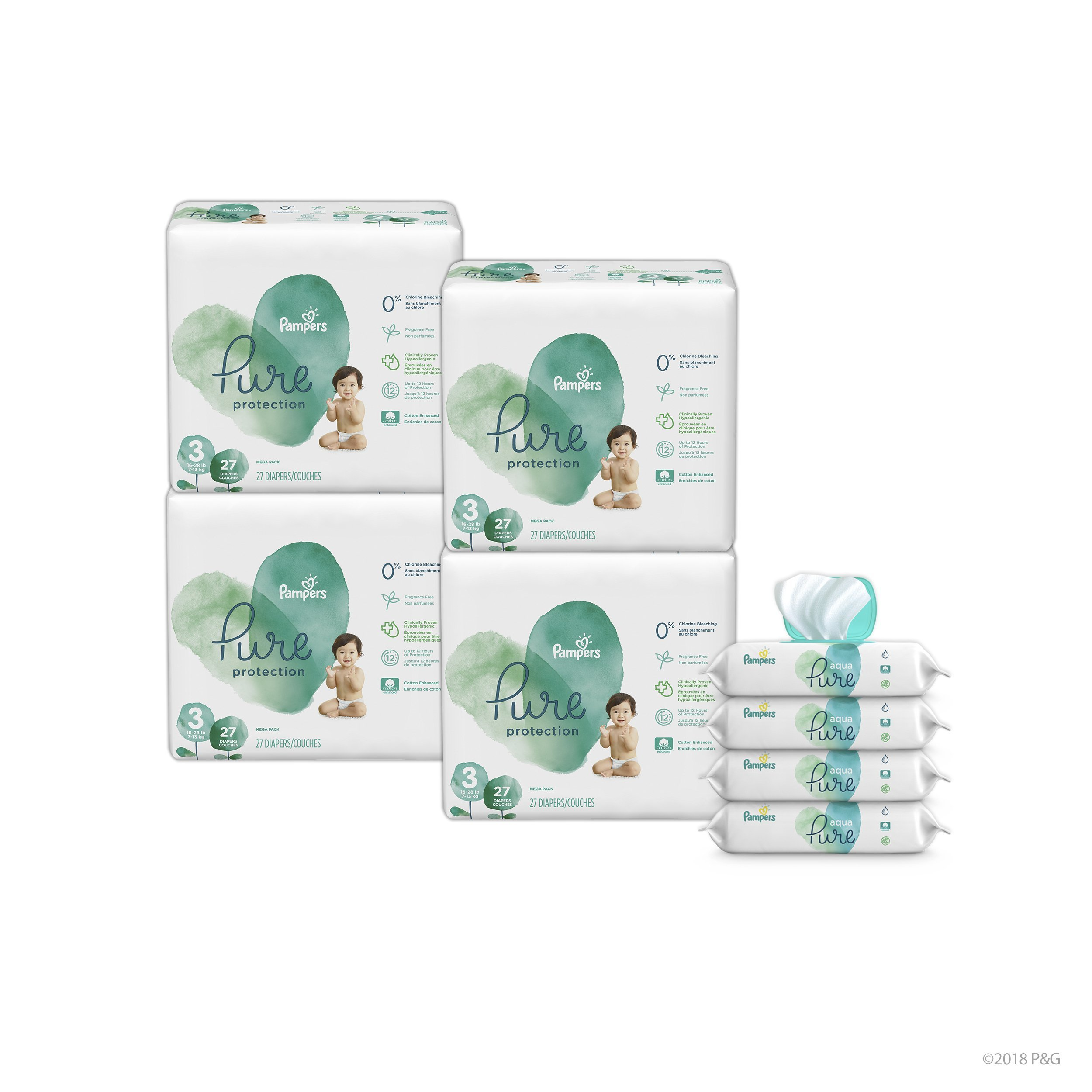 Diapers Size 3, 108 Count - Pampers Pure Disposable Baby Diapers, Hypoallergenic and Fragrance Free Protection with Aqua Pure 4X Pop-Top Sensitive Water Baby Wipes, 224 Ct.