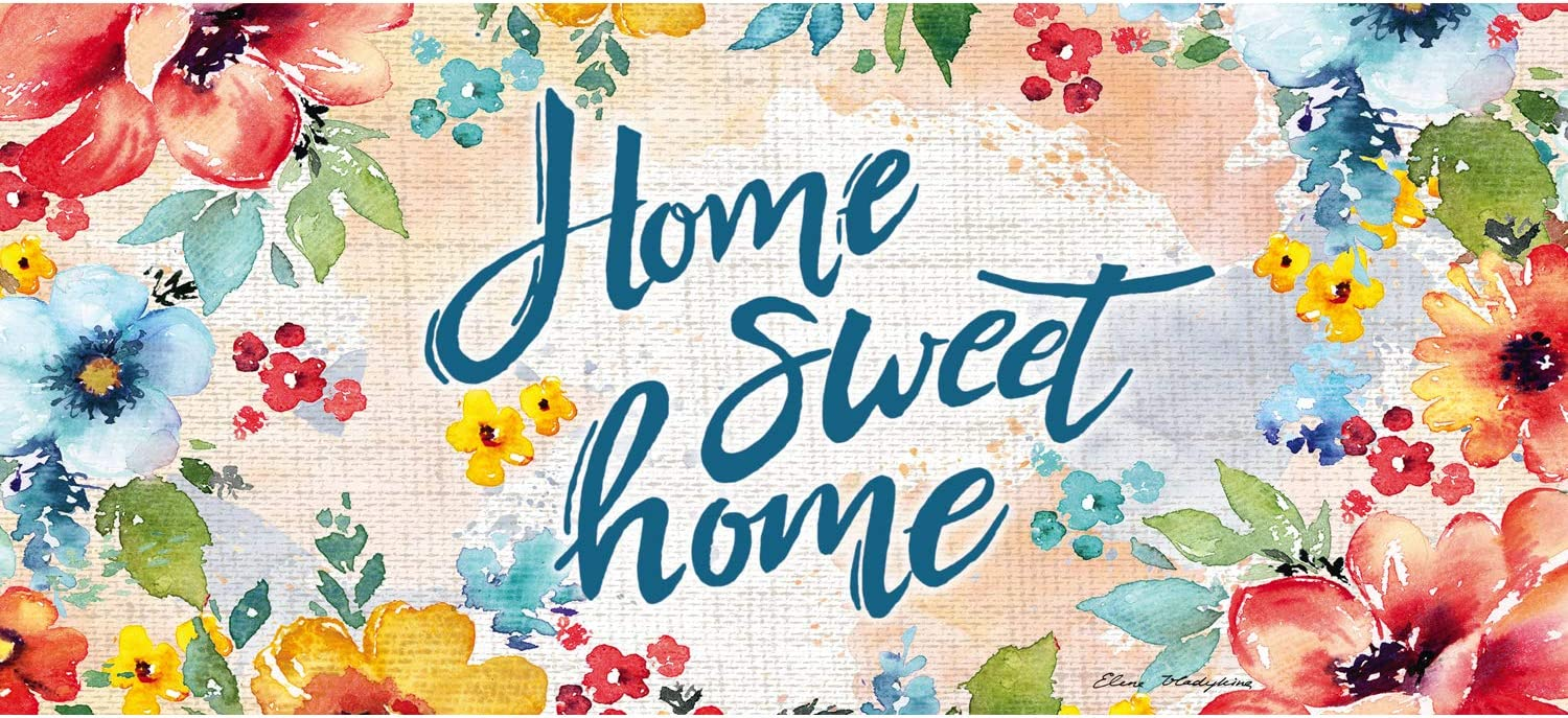 Evergreen Flag Home Sweet Home Floral Sassafras Switch Mat 10 x 22 Inch Interchangeable Door and Floormat for Homes Gardens and Yards