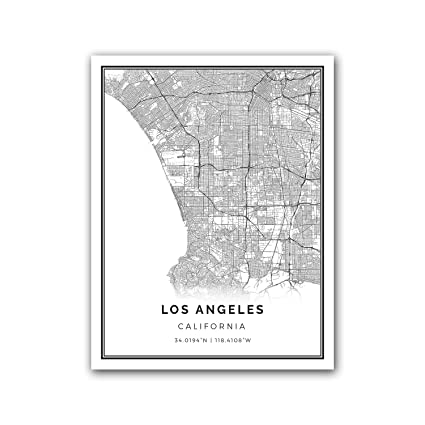 graphic regarding Printable Map of Los Angeles identified as : Los Angeles map poster print Progressive black and