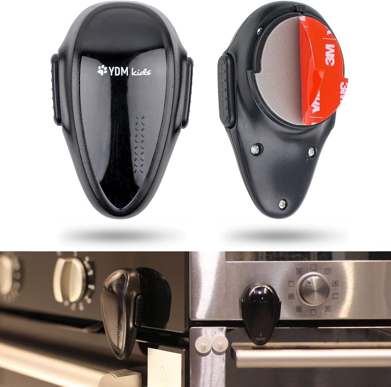 Cerraduras de seguridad a prueba de niños, 2 x Bloqueo de Seguridad para horno, adhesivo 3M, resistentes al calor, Diseño de doble botón, adecuado para lavadora, lavavajillas y microondas, Negro