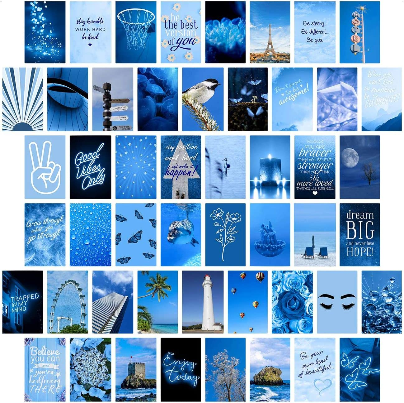Blue Wall Collage Kit Aesthetic Pictures, Collage Kit for Wall Aesthetic, Aesthetic Pictures for Wall Collage, Room Decor for Teen Girls, Wall Collage Kit, Blue Collage Kit, 50pcs 4x6 inch