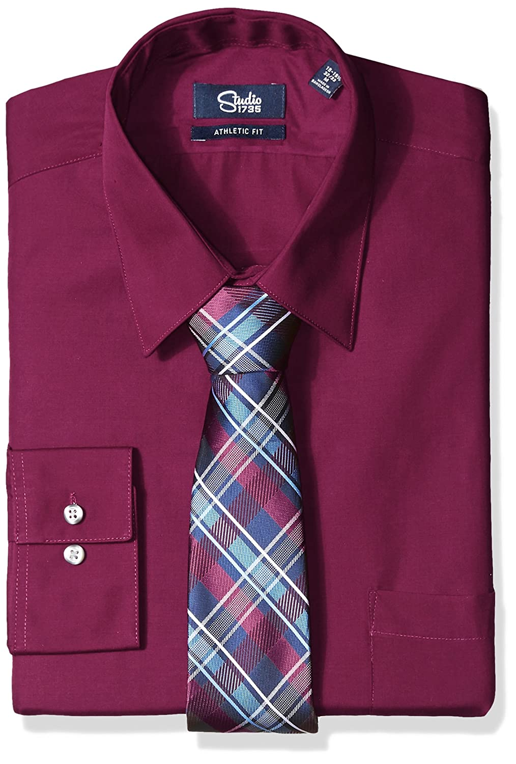 Studio 1735 Mens Dress Shirts And Tie Combo Plaid Tie Athletic Fit