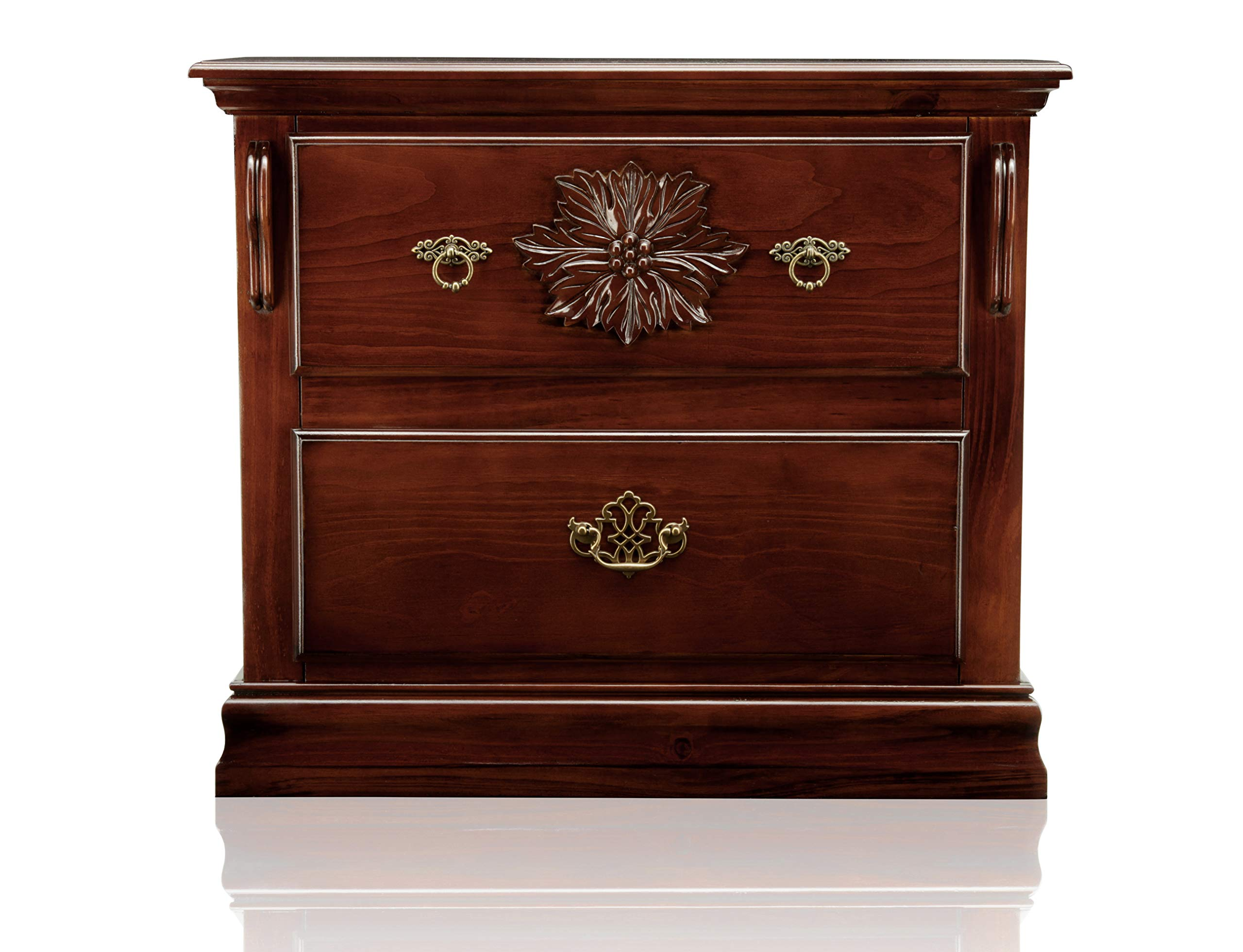 Furniture of America Scarlette Classic 2-Drawer Nightstand, Glossy Dark Pine by Furniture of America