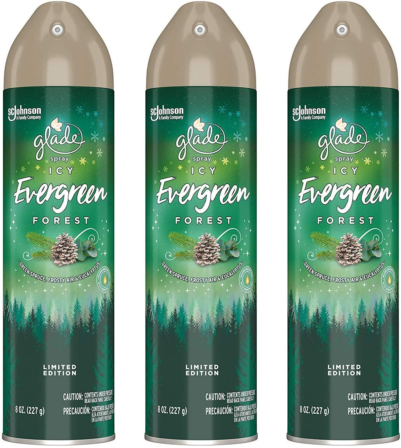 Glade Air Freshener Spray - Limited Edition - ICY Evergreen Forest - Net Wt. 8 OZ (227 g) Per Can - Pack of 3 Cans