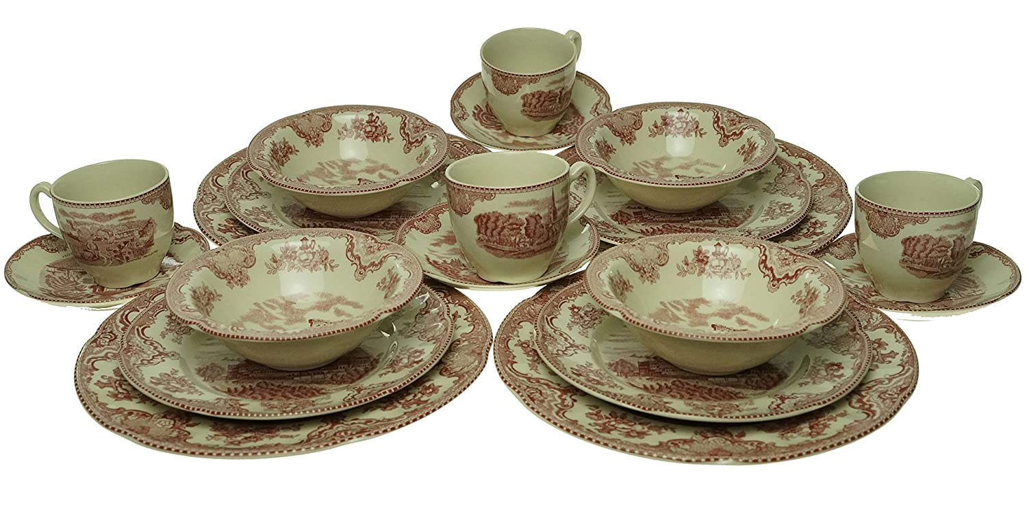 Johnson Brothers Old Britain Castles 20-Piece Pink Dinnerware Starter Set - ChristmasTablescapeDecor.com