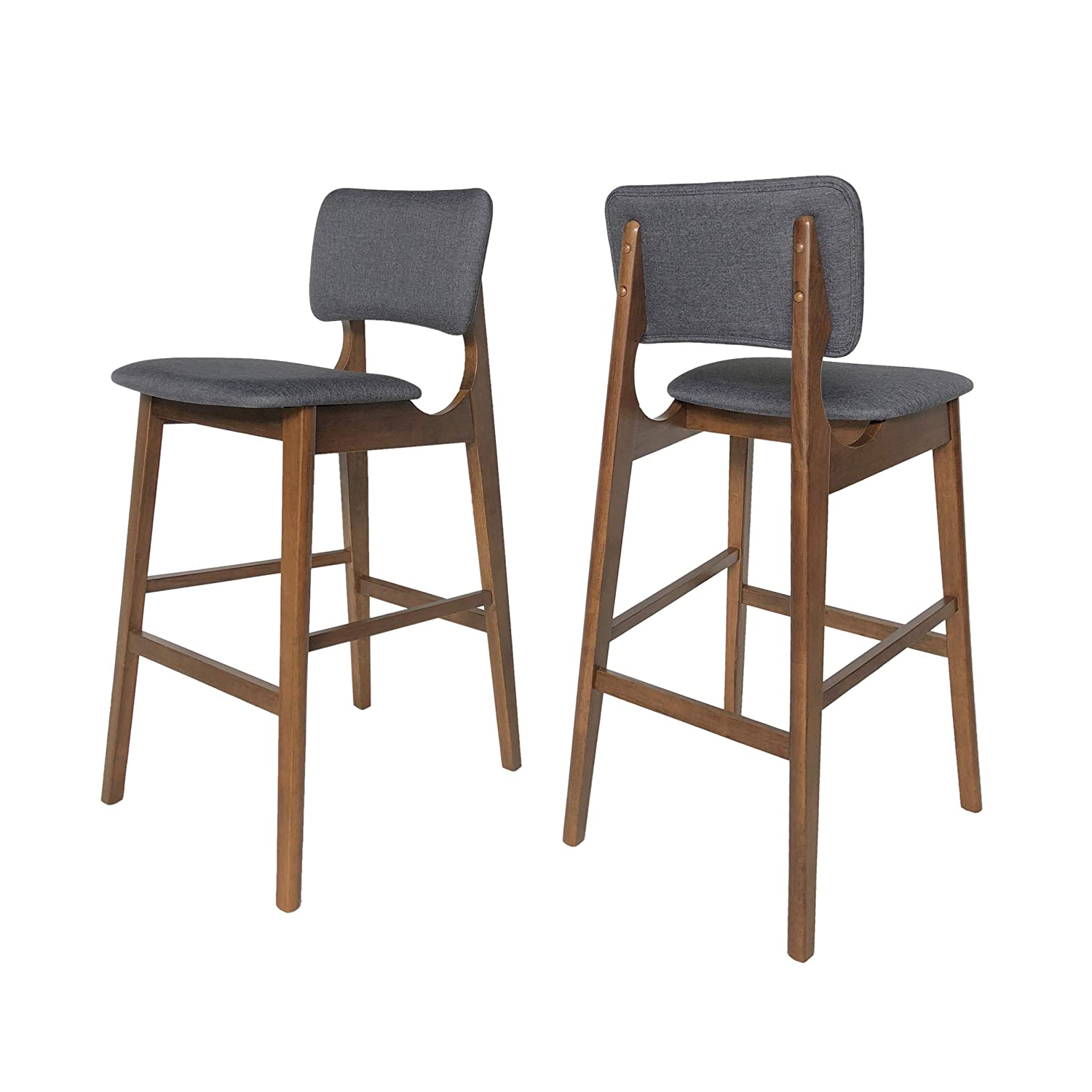 "Christopher Knight Home Luella 42"" Wooden Bar Chair with Fabric Seats (Set of 2), Charcoal and Walnut Finish"