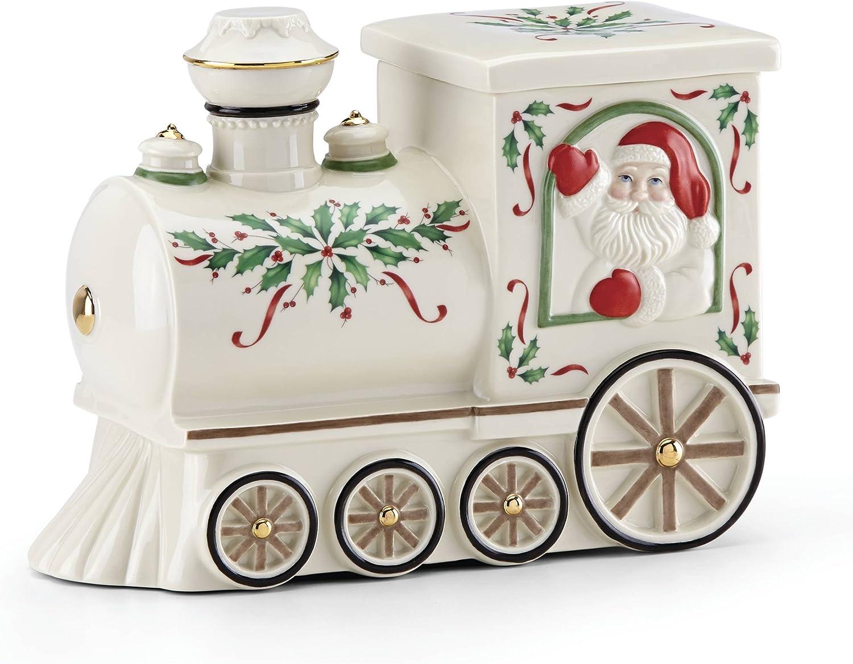 Lenox Holiday Santa Train Cookie Jar