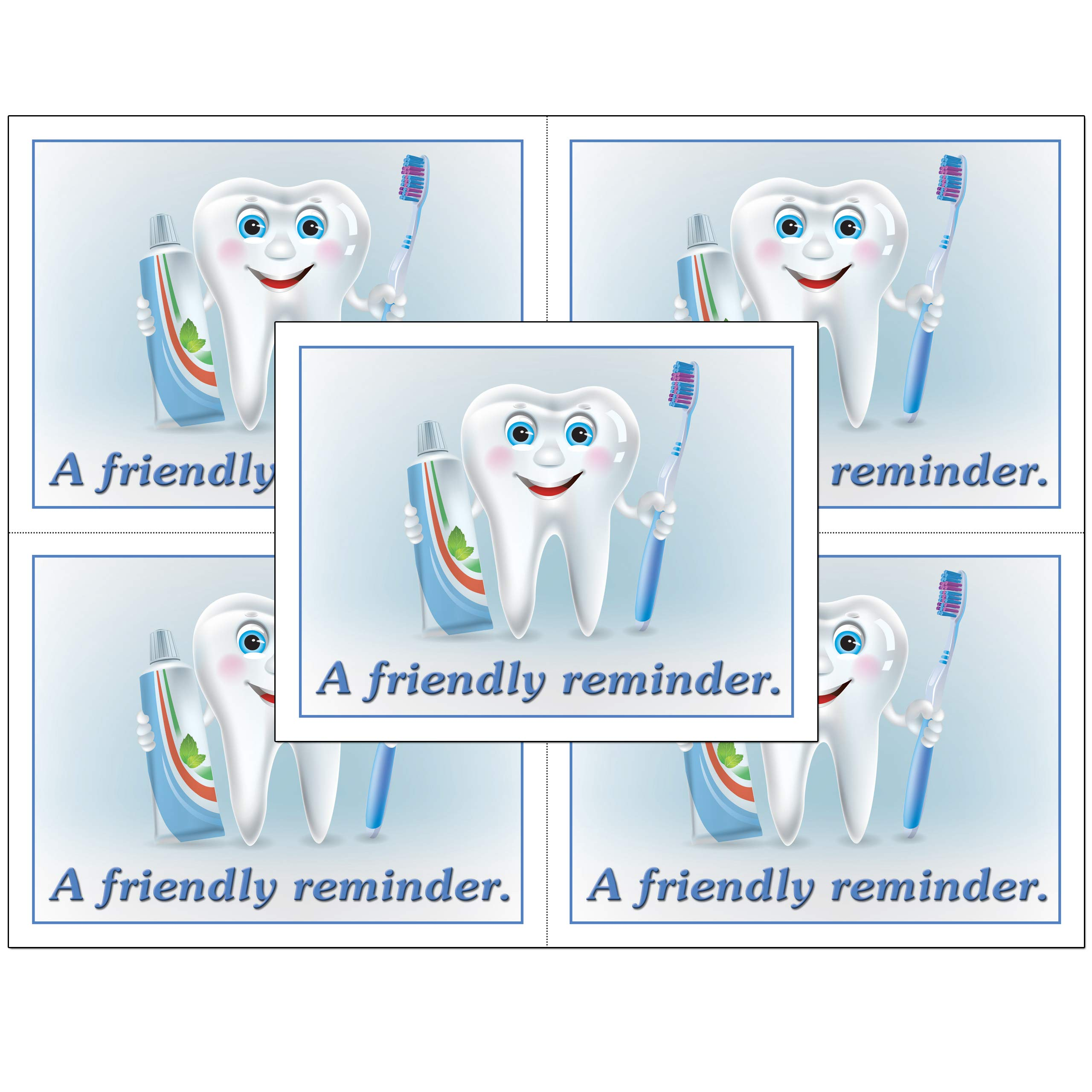 Dental Laser Appointment Reminder Postcards with Personalizable Backs. 4 Cards Micro Perforated for Tear-Off at 4.25'' x 5.5'' on an 8.5'' x 11'' Sheet of 8 Pt Card Stock. (5000) by Custom Recall