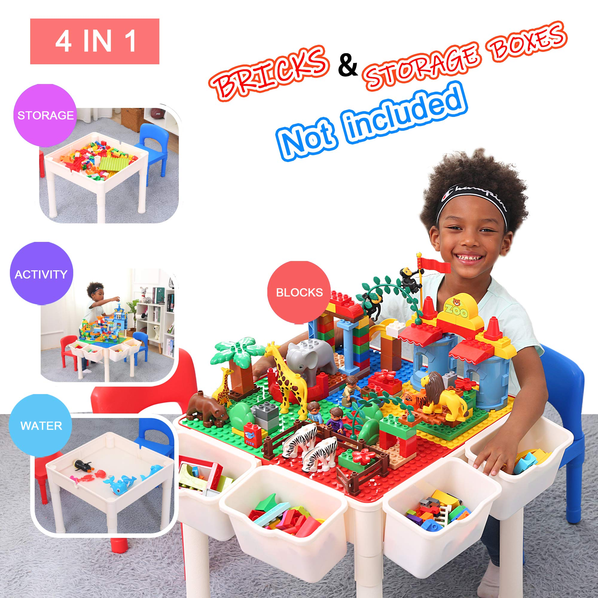 Bheddi Kids Table and Chair Set, 4 in 1 Toddler Table and Chair Sets, Kids Activity Table Blocks Craft Play Table Fits Educational Playing Activities (Bricks Not Included)、 by Bheddi