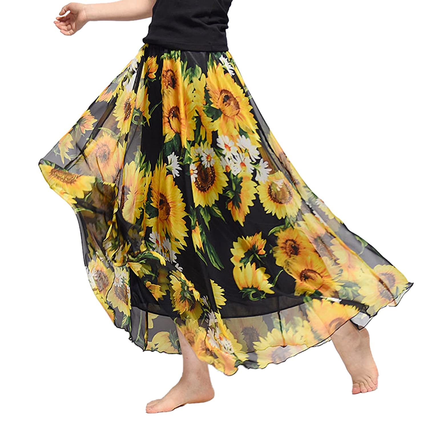WSLCN Womens Floral Printing Chiffon Long Skirt Elastic Waist Beach Skirt with Lining QZ0380