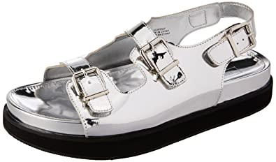 4860a802facb Image Unavailable. Image not available for. Colour  Forever 21 Women s  Silver Fashion Sandals ...