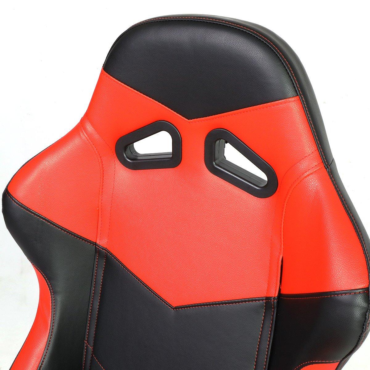 Par de rs-005-bk-rd PVC piel reclinable Racing asiento + negro 4PT ...