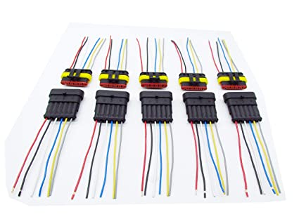 amazon com cnkf 5 sets 6 pin amp male female superseal car 6 pin trailer wiring harness mini micro jst gh 1 25mm t 1 6 pin