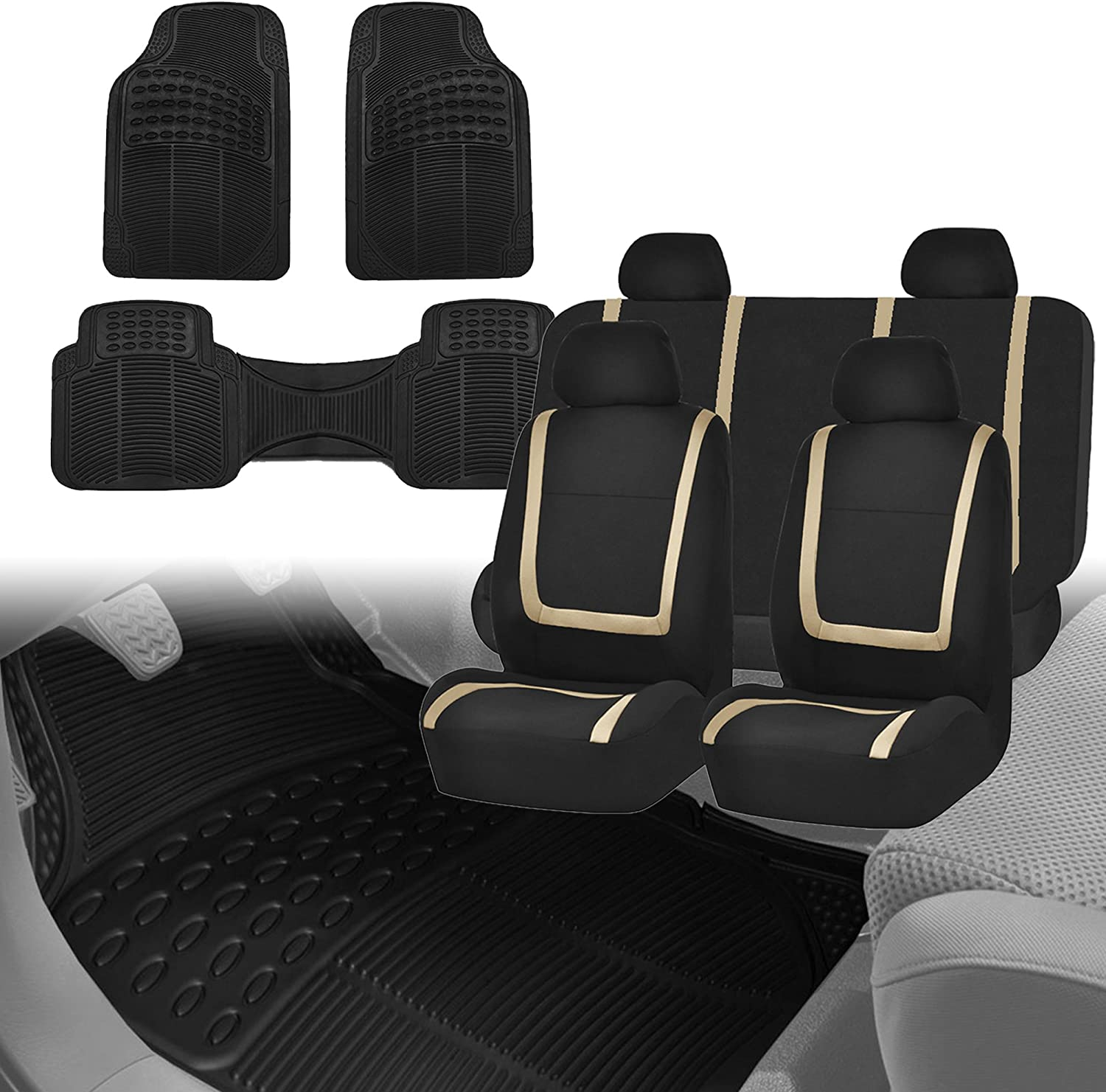 FH Group FH-FB032114 Unique Flat Cloth Car Seat Covers, Beige/Black with F11306 Black Vinyl Floor Mats- Fit Most Car, Truck, SUV, or Van