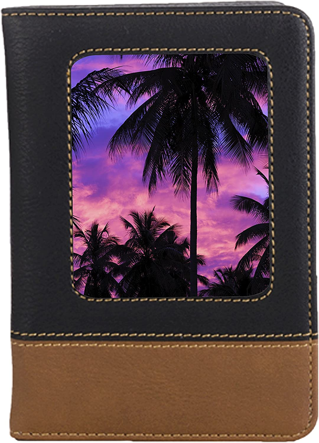 Pink Palm Tree Sunset Leatherette Passport Wallet Style Case Cover For Travel