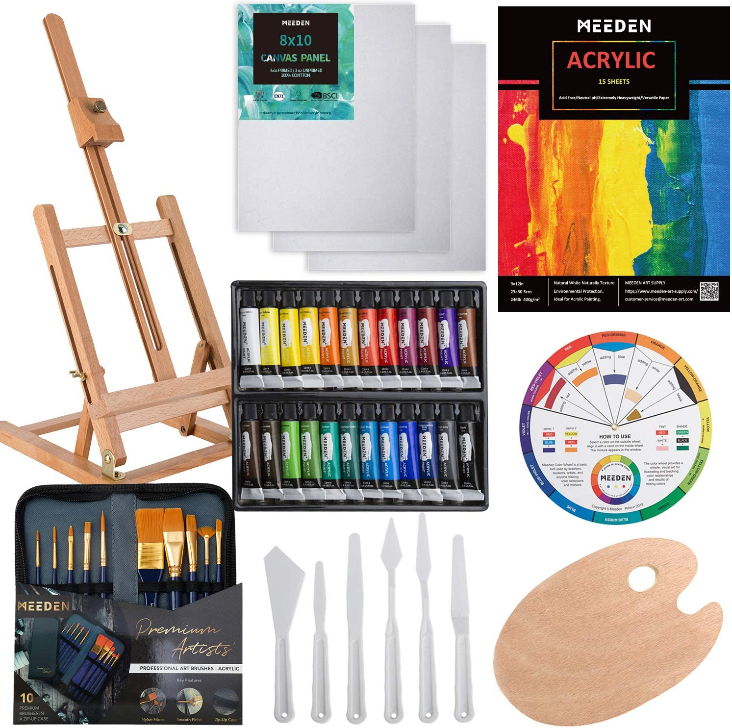 MEEDEN 47-Piece Acrylic Painting Set - Solid Beech Wood Table Easel, 24×12ML Acrylic Paint Set, Canvas Panels, Acrylic Paintbrush Set, Acrylic Pad, Wood Paint Palette, Gift for Kids & Beginner Artist