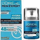 L'Oréal Paris Men Expert Hydra Power Crema Viso Uomo in Gel Idratante e Rinfrescante 48H, 50 ml