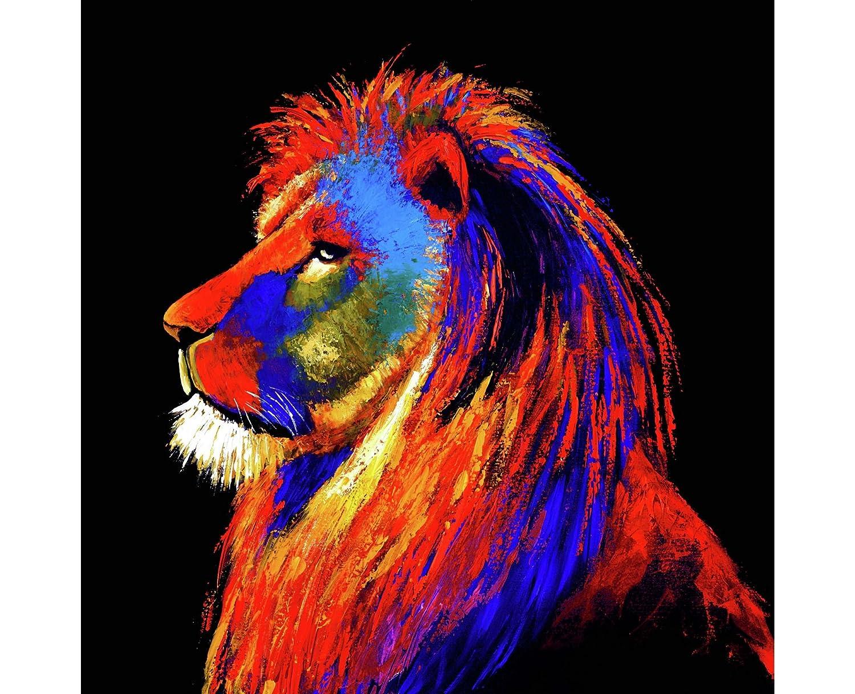 Innova Editions Majestic Lion Art, White, 100 x 100 x 2.5 cm FP06680