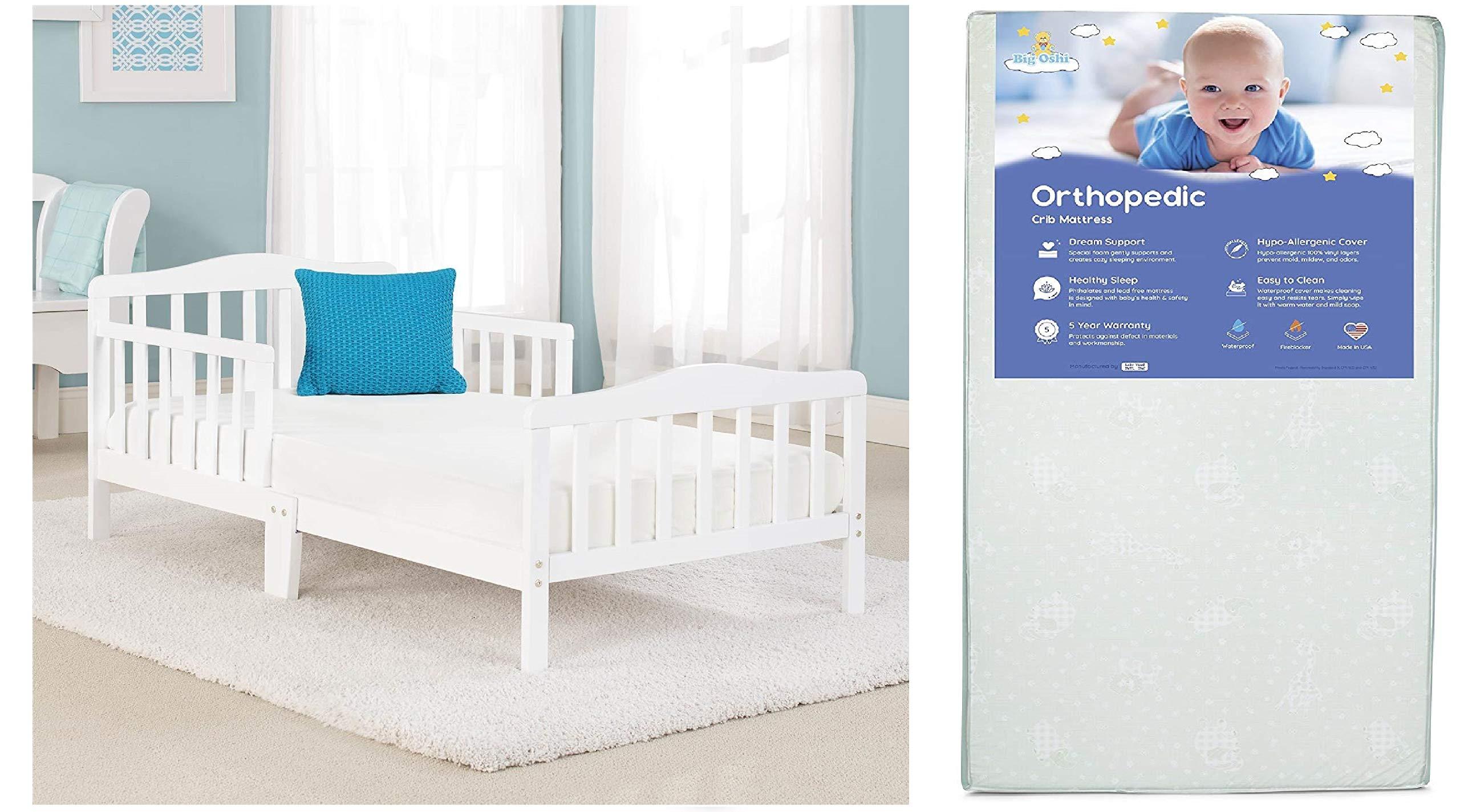 Big Oshi Contemporary Toddler Bed & Mattress Bundle, Waterproof, Non-Toxic Mattress, White Bed Bundle
