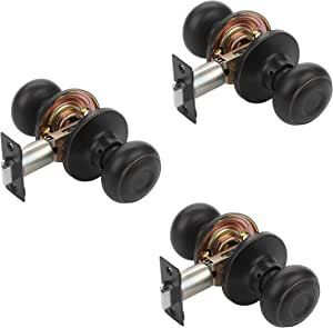 Dynasty Hardware SIE-82-12P Sierra Door Knob Passage Set, Aged Oil Rubbed Bronze, Contractor Pack (3 Pack)