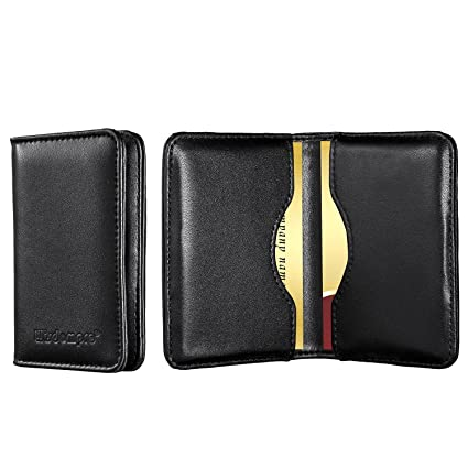 genuine leather business card holder wisdompro 2 sided professional folio credit name card holder - Leather Business Card Holder