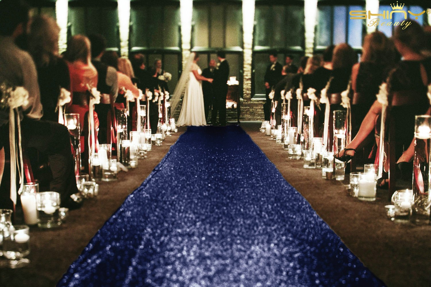 Navy Blue-Sequin Aisle Runner-4FTx40FT Wedding Sequin Carpet Aisle Runner for Wedding/Party/Event/Christmas by ShiDianYi