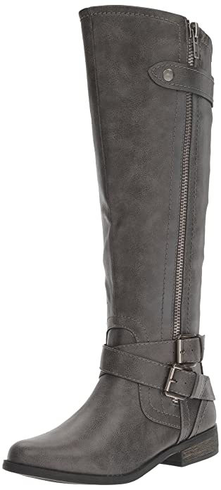 Rampage Women's Hansel Zipper and Buckle Knee-High Riding Boot,Grey,10 B