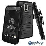 Moto G4 Case, Moto G4 Plus Case, CellJoy [Ultra Rugged Hybrid] ((ShockProof)) Reinforced Impact Shield Bumper [Heavy Duty] Protection Cover Kickstand [Locking Swivel Belt Clip Holster Combo] (Black)